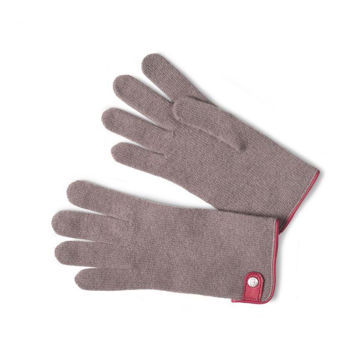 Taupe Merino Leather Tag Trim Glove