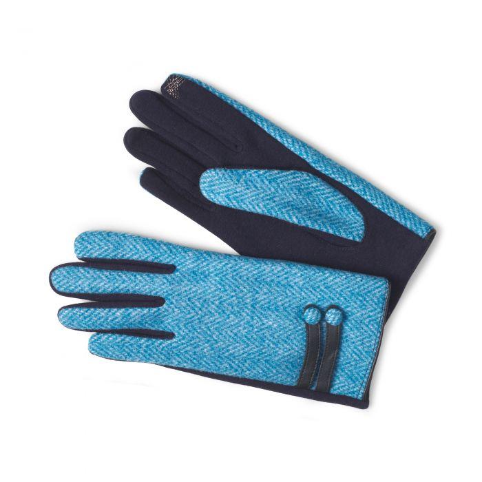 Blue Herringbone Lambswool Gloves