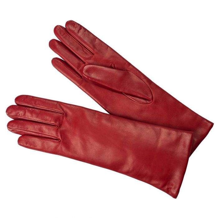 Red Nappa Leather Long Cuff Glove