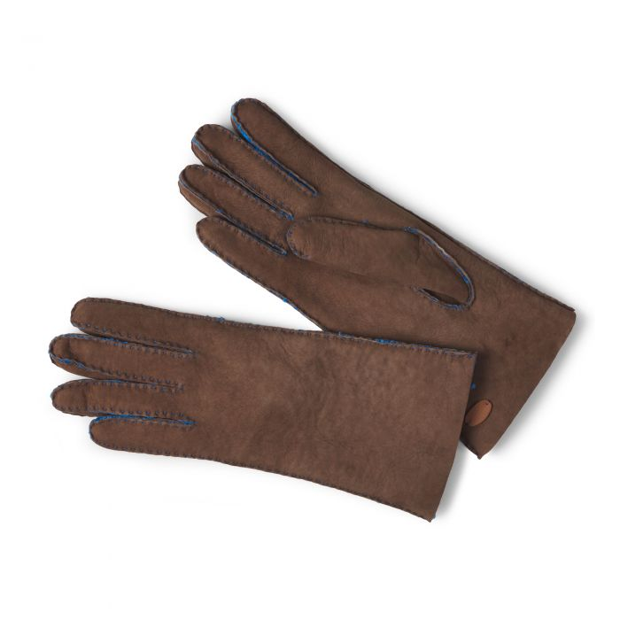 Chocolate Leather Merino Sheepskin Gloves