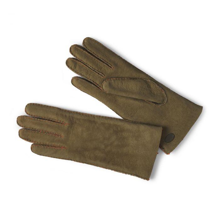 Green Leather Merino Sheepskin Gloves