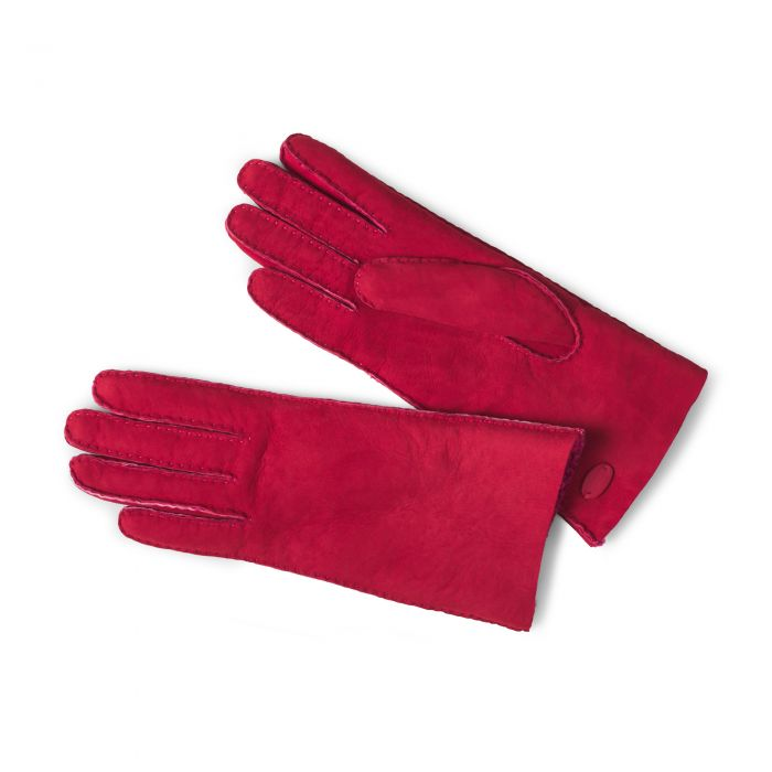 Red Leather Merino Sheepskin Gloves
