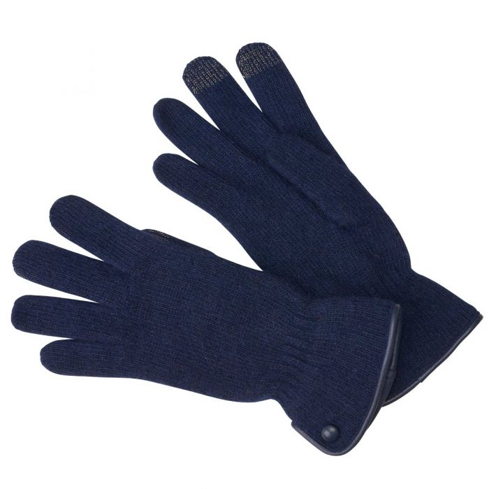 Navy Merino Leather Trimmed Gloves
