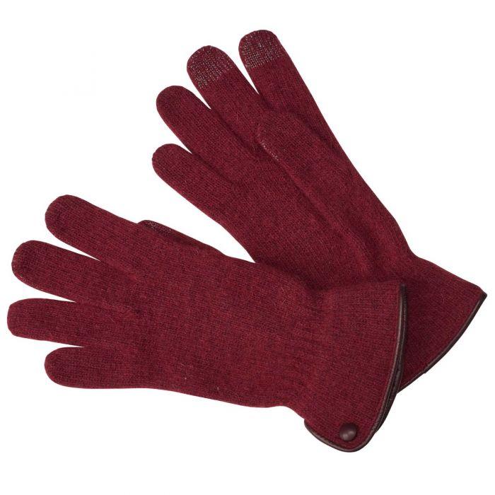Wine Merino Leather Trimmed Gloves