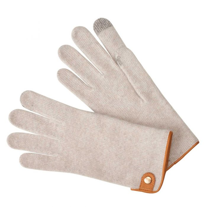 Tan Cashmere & Merino Leather Trimmed Gloves
