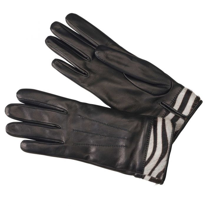 Black Nappa Leather Glove With Zebra Cuff