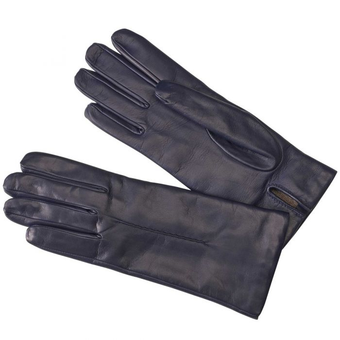 Navy Cashmere Lined Nappa Leather Gloves