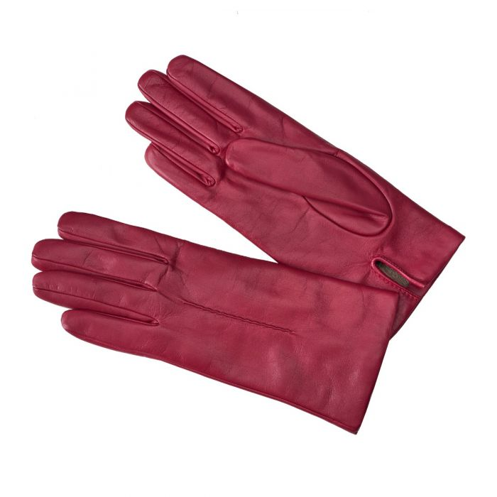 Pink Cashmere Lined Nappa Leather Gloves