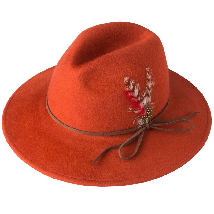 Rust Brushed Wool and Feather Trim Hat