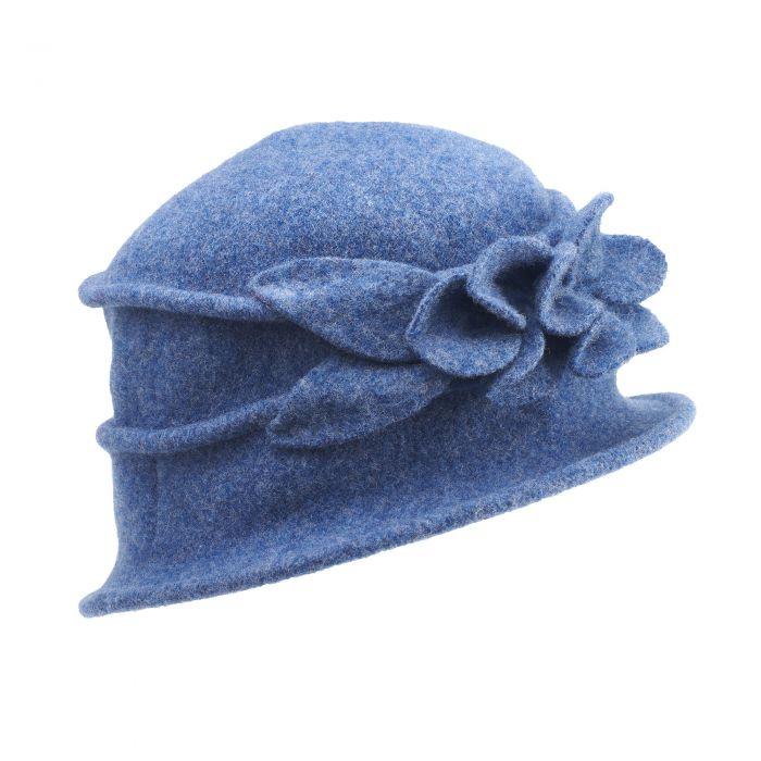 Blue Merino Flower Hat