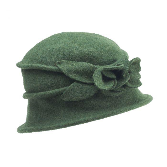 Olive Merino Flower Hat