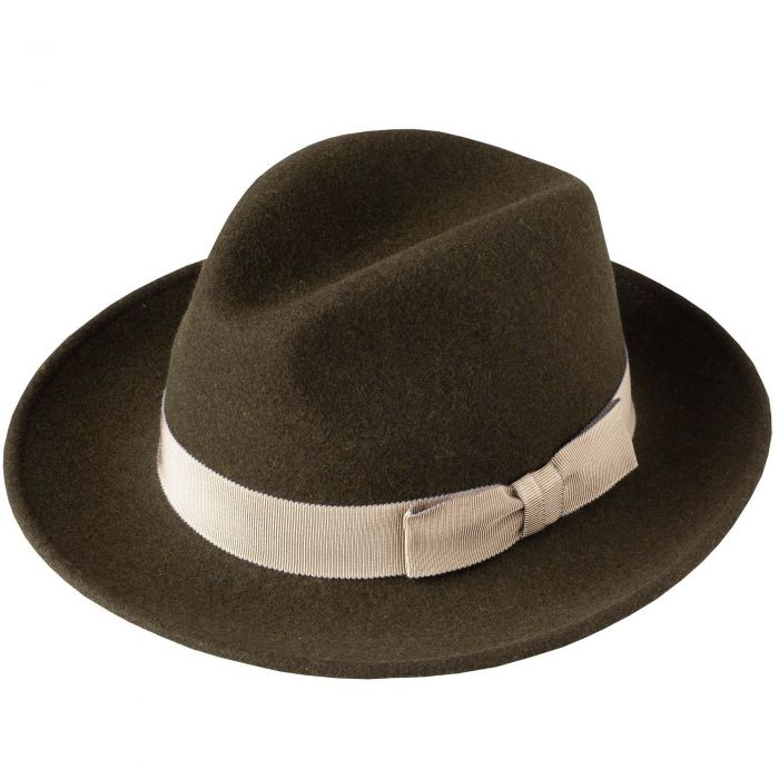 Olive Green Fedora with Contrast Ribbon