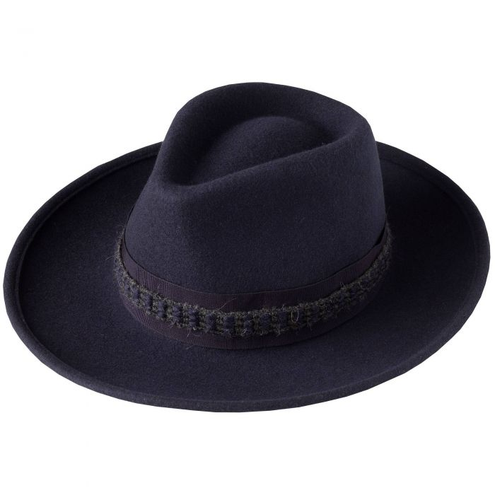 Navy Fedora with Contrast Ribbon