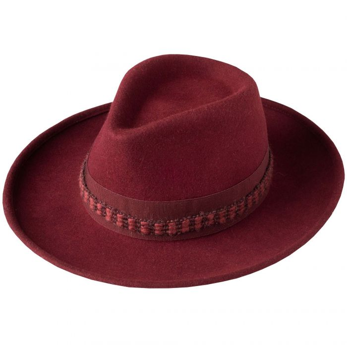 Wine Fedora with Contrast Ribbon