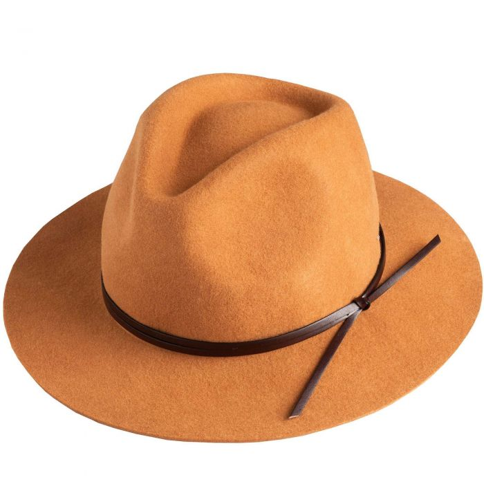 Camel Fedora with Leather Trim