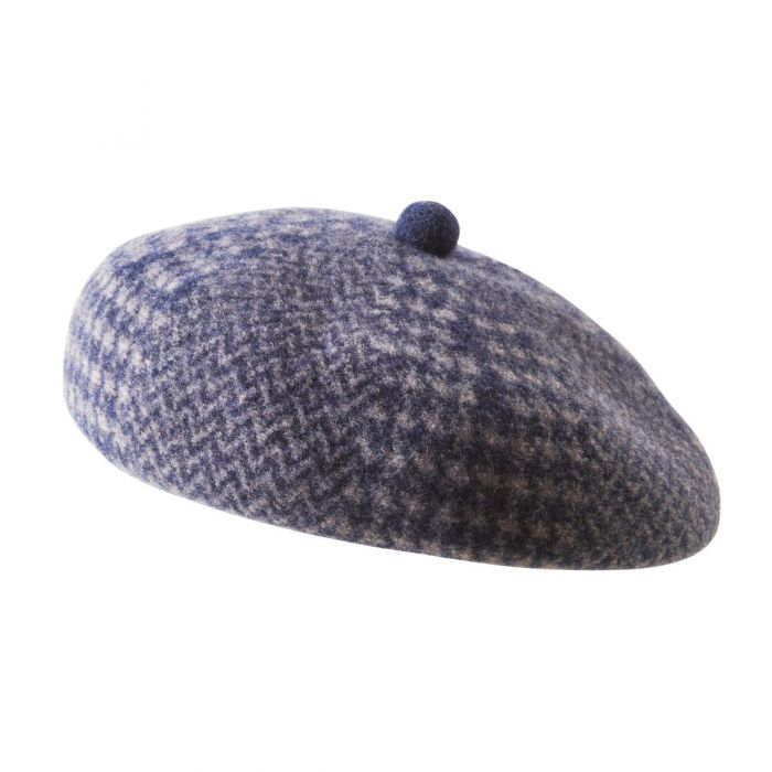 Navy Houndstooth Wool Beret