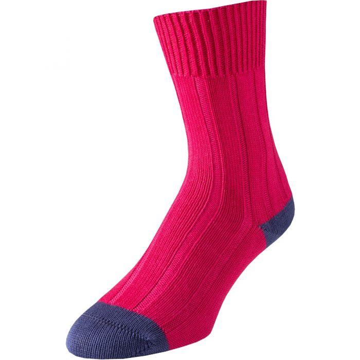 Fuchsia Cotton Heel and Toe Socks