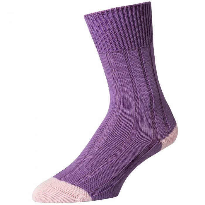 Lilac Cotton Heel and Toe Socks