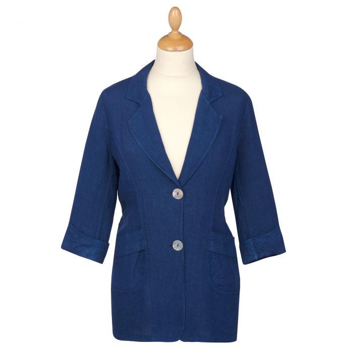 Navy Blue Linen Casual Blazer