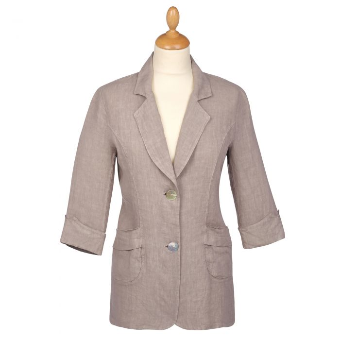 Taupe Linen Casual Blazer