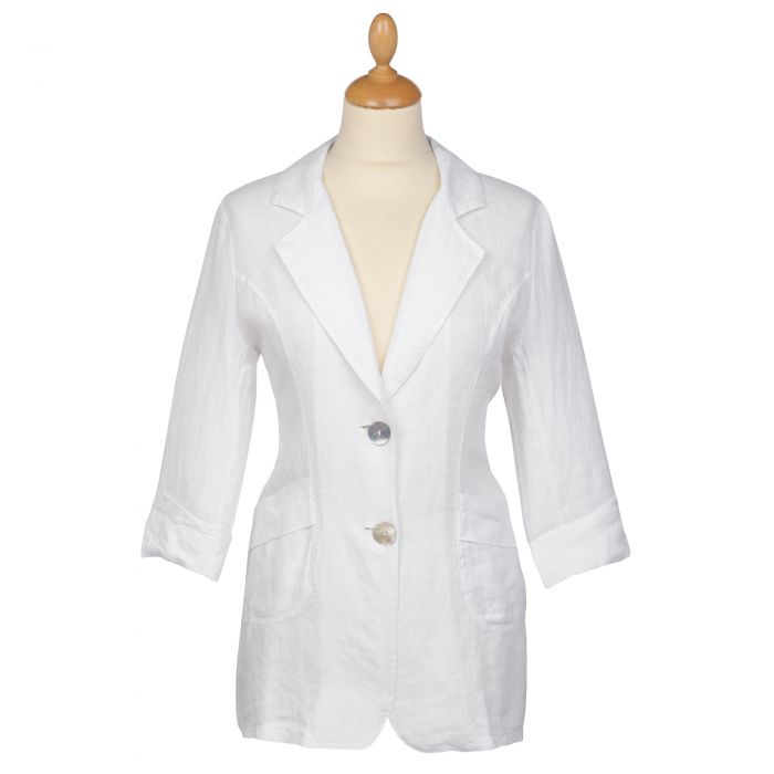 White Linen Casual Blazer