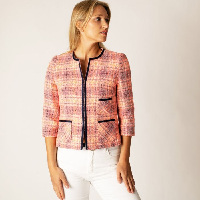 Pink Cropped Piped Jacket