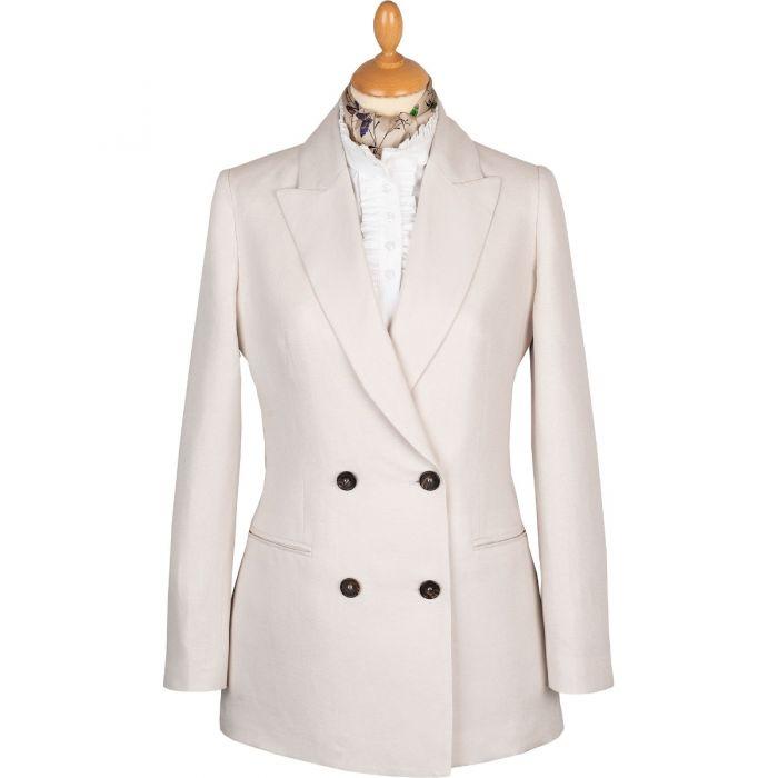 Cream Double Breasted Cotton and Linen Blazer