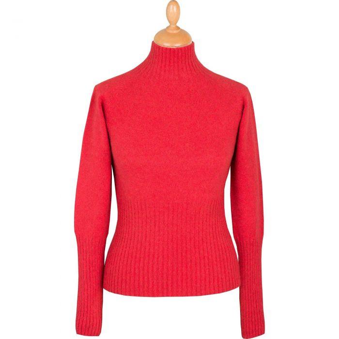 Coral Possum Turtleneck Sweater