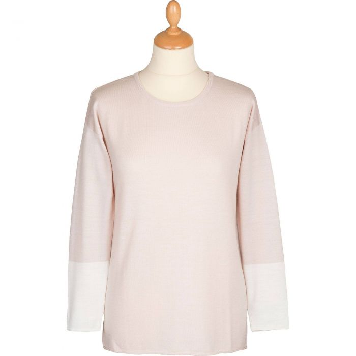 Cream Contrast Sleeve Merino Sweater