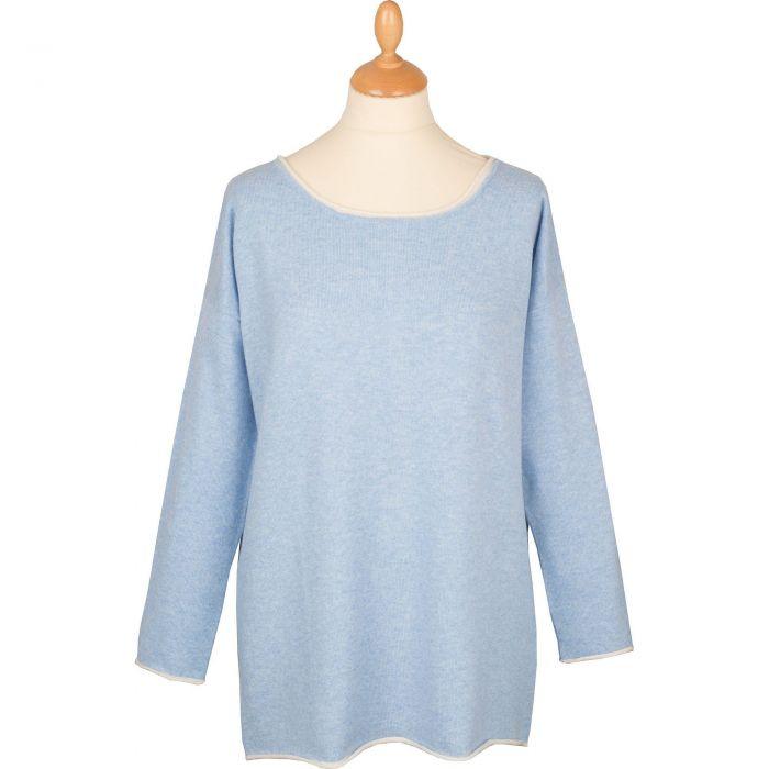 Pale Blue Contrast Button Back Cashmere Jumper