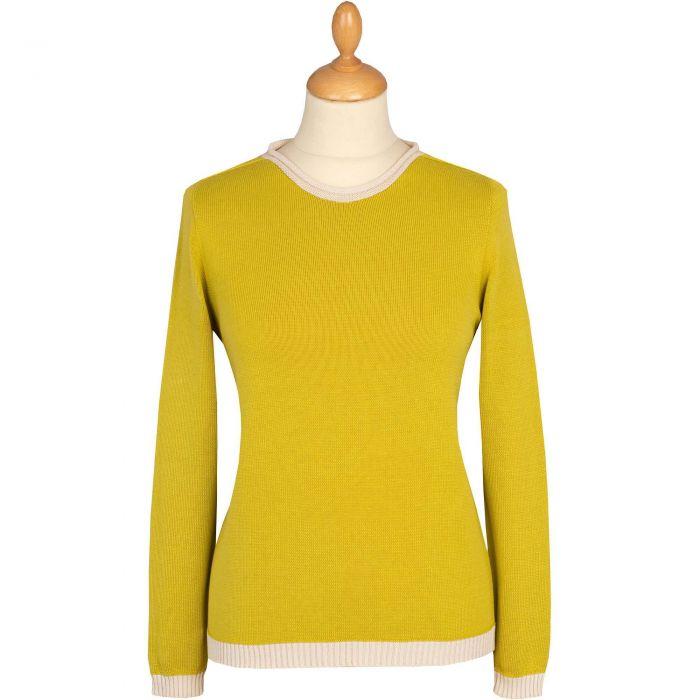 Lime Green Cotton Contrast Crew Neck