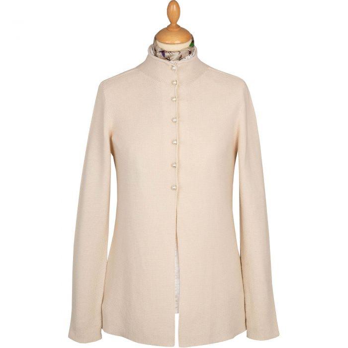 Cream Pearl Button Cotton Cardigan