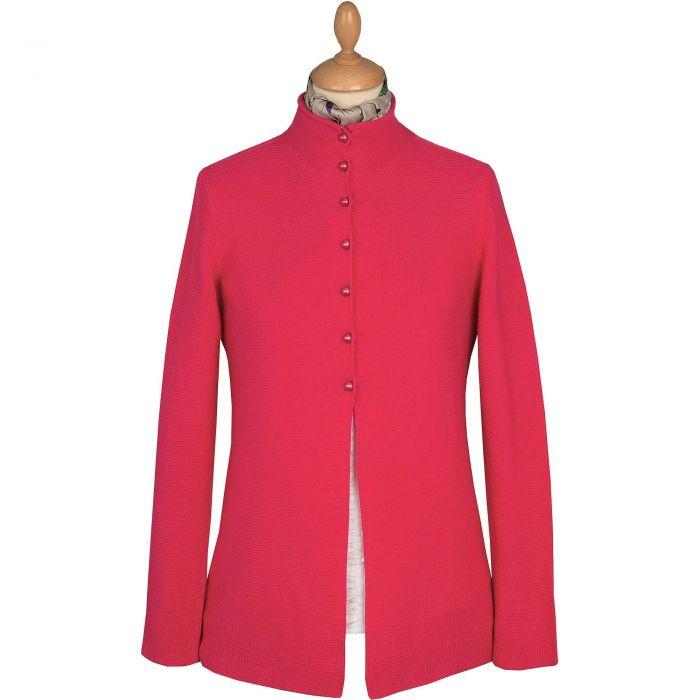 Fuchsia Pearl Button Cotton Cardigan