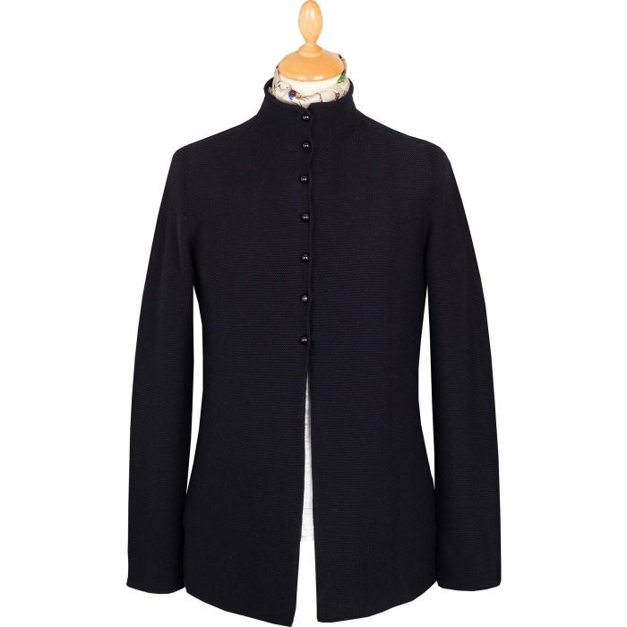 Navy Pearl Button Cotton Cardigan