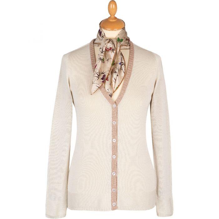Cream V-Neck Cotton Cardigan