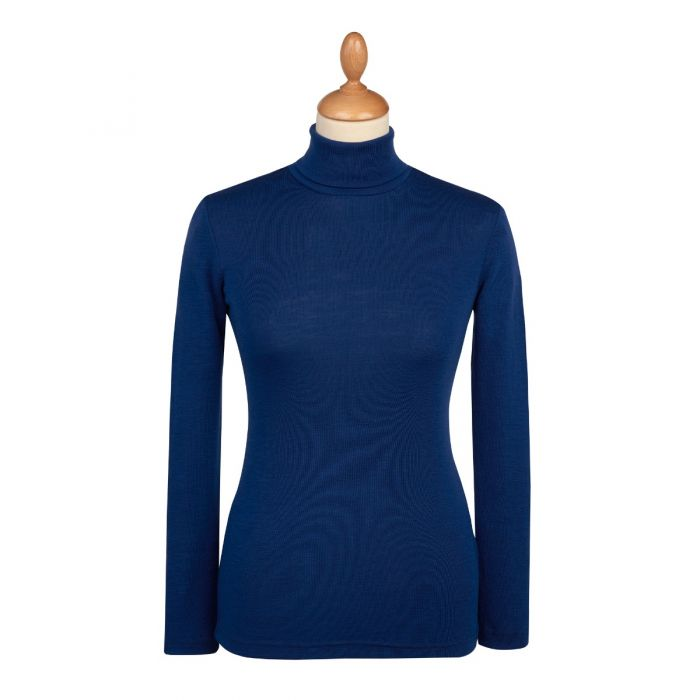 Blue Superfine Merino Fitted Roll Neck