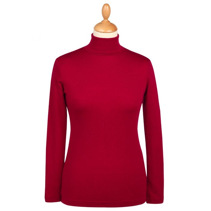 Red Superfine Merino Fitted Roll Neck