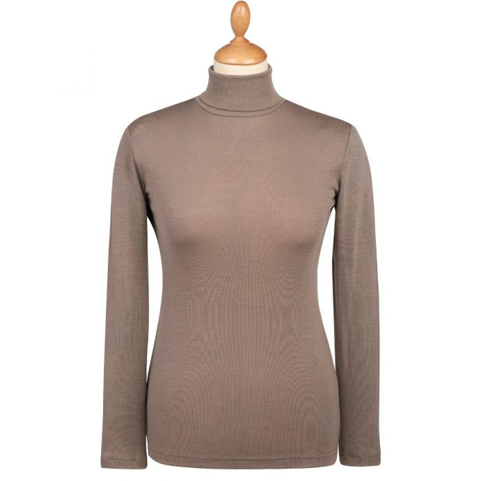 Taupe Superfine Merino Fitted Roll Neck