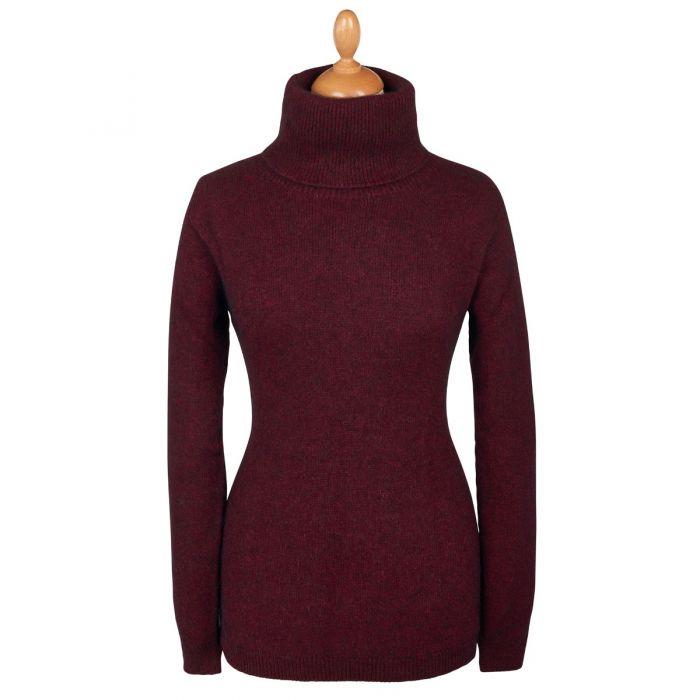 Wine Red Possum Cowl Neck Sweater