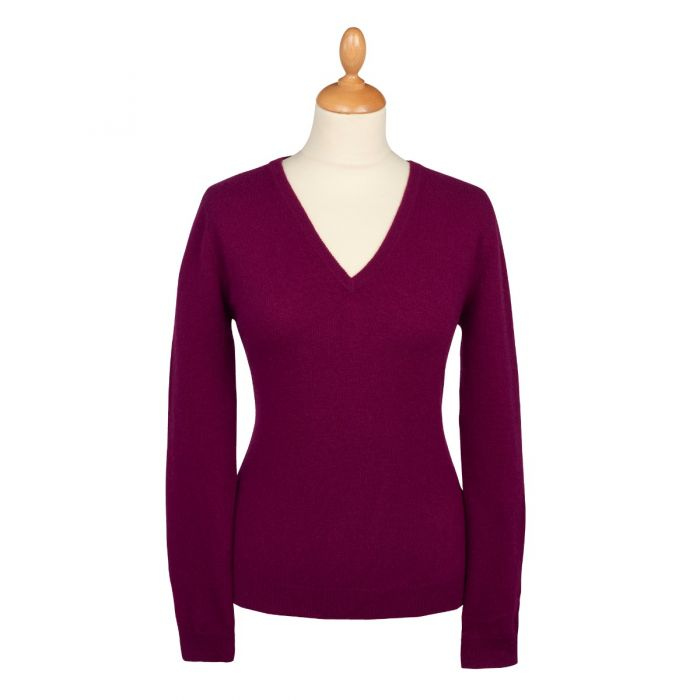 Aubergine Red Cashmere V Neck Jumper