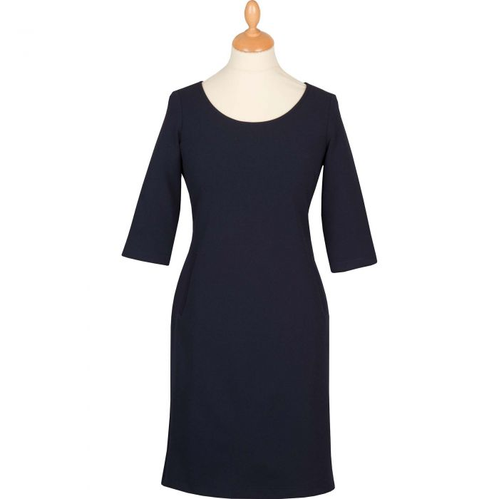 Navy Stretch 3/4 Sleeve Dress