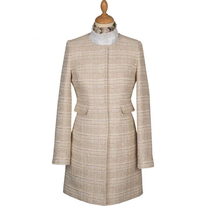 Cream Round Collar Coat
