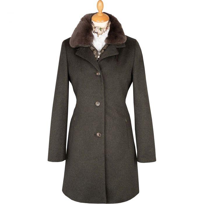Olive Green Fur Trimmed Austrian Loden Coat
