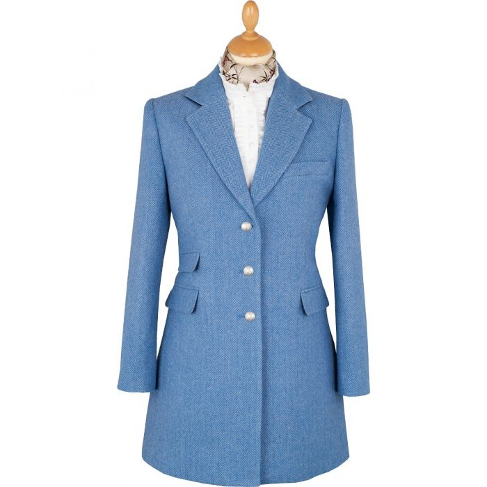 Blue Herringbone Carlisle Tweed Classic Coat