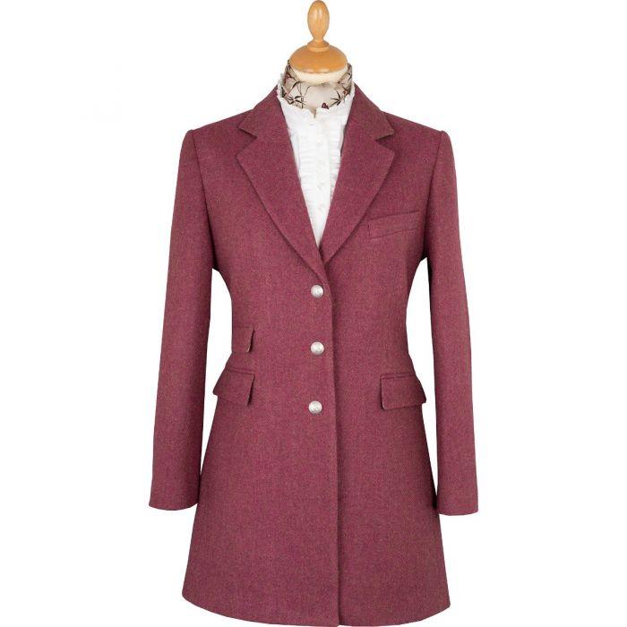 Pink Herringbone Carlisle Tweed Classic Coat