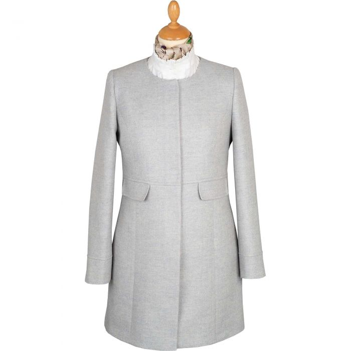 Pale Blue Round Collar Herringbone Coat