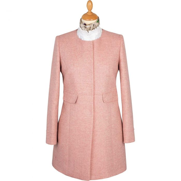 Pale Pink Round Collar Herringbone Coat
