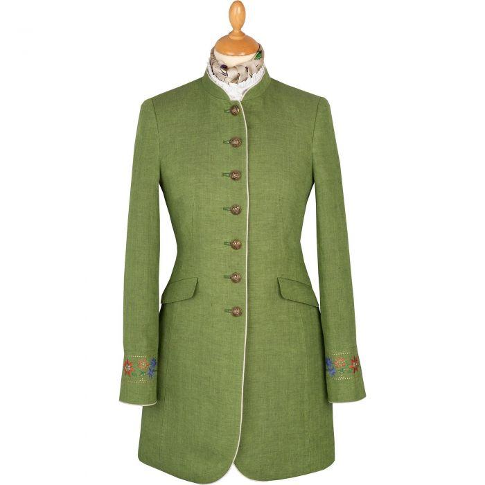 Green Linen Austrian Nehru Coat