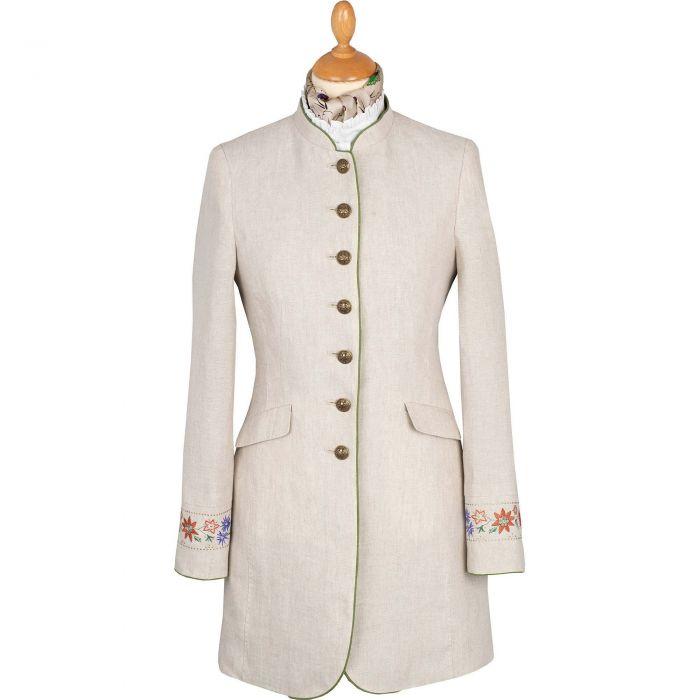 Beige Linen Austrian Nehru Coat