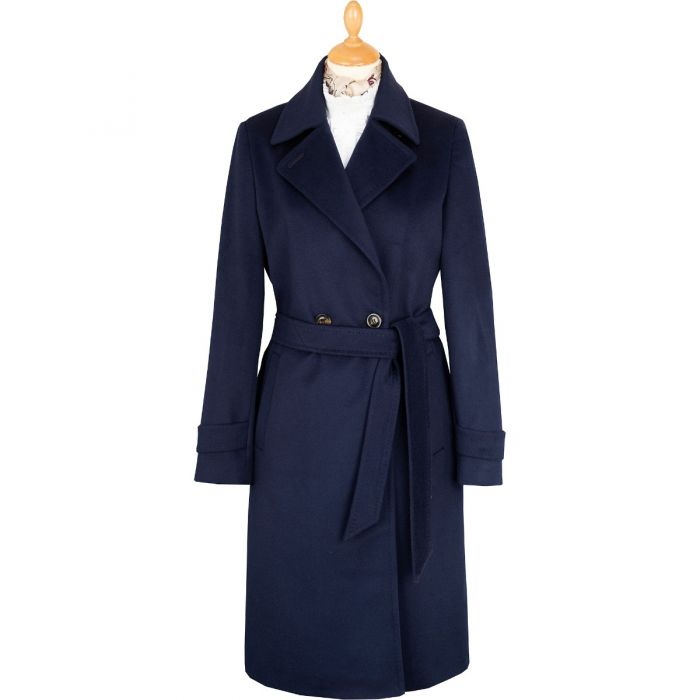 Long Belted Navy Wool Coat
